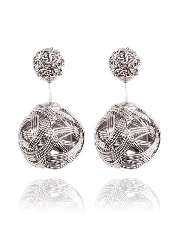 Knot Ball Double Sided Earrings Silver