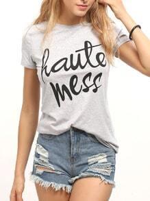 T-Shirt mit Buchstaben Druck lässig -hell grau