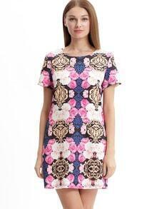Muticolor Half Sleeve Floral Print Dress