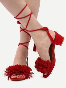 Red Lace Up Single Sole Tassel Chunky Sandals