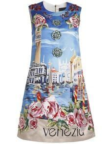 Blue Applique Pouf Print Beading Shift Dress