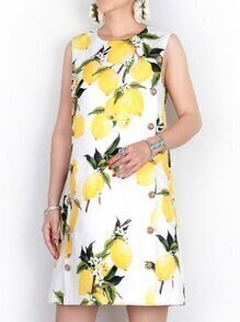 White Crew Neck Lemons Jacquard Dress