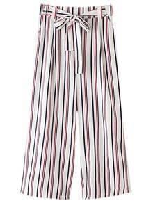 Multicolor Vertical Stripe Pockets Tie-waist Bow Wide Leg Pants