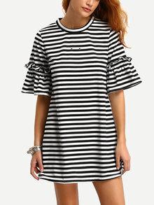 Swing Kleid gestreift mit Rüschenärmeln lässig -schwarz und weiß