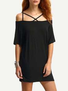 Off-The-Shoulder Crisscross Dress - Black