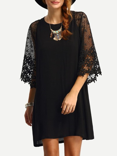 Hollow Out Crochet Sleeve Tunic Dress