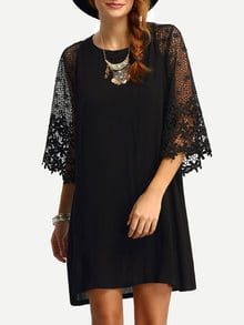 Tunika Kleid mit Häkel Ärmeln und Schlüsselloch Design am Rücken -schwarz