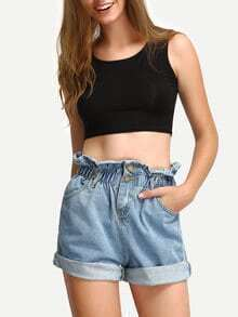 Ruffled Elastic Waist Rolled Hem Denim Shorts