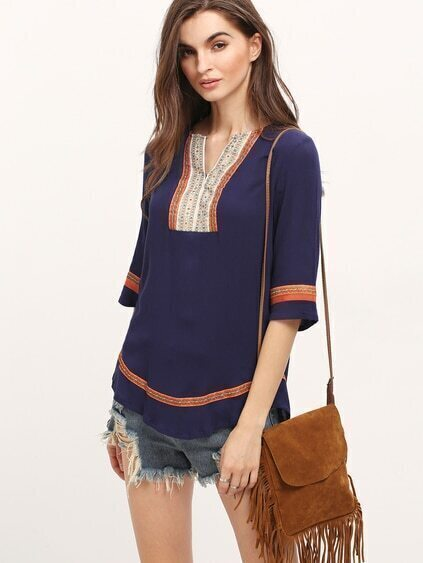 Royalblue Half Sleeve Embroidered Loose Blouse