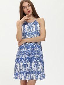 Blue Print In White Spaghetti Strap Shift Dress