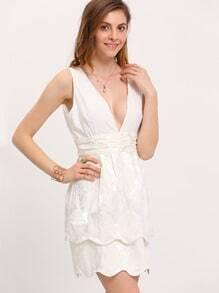 White Plunge V Back Scallop Dress