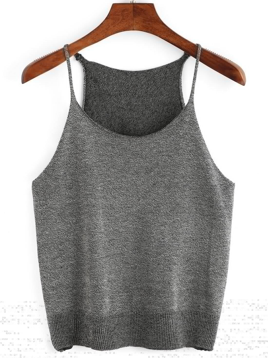 Grey Knitted Cami Top RVES160420001