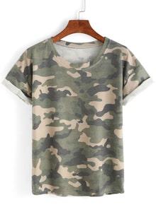 T-shirt imprimé camouflage manche courte