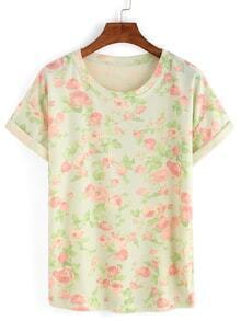 Rose Print Rolled Sleeve T-shirt