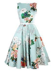 Belted Flower Print Sleeveless Flare Dress