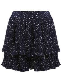 Polka Dot Print Layered Ruffle Skirt