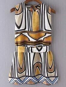 Multicolor Sleeveless Geometric Print Dress With Belt