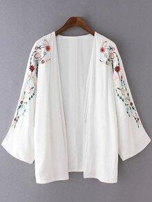 White Long Sleeve Embroidery Cardigan Kimono