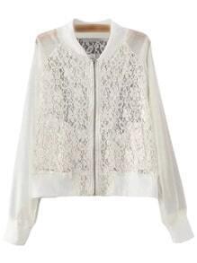 White Pockets Zipper Front Chiffon Splicing Lace Jacket