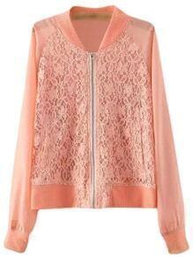 Orange Pockets Zipper Front Chiffon Splicing Lace Jacket