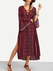 Langes Kleid Glocke Hülse mit Folklore Druck und Seitenschlitz -rot