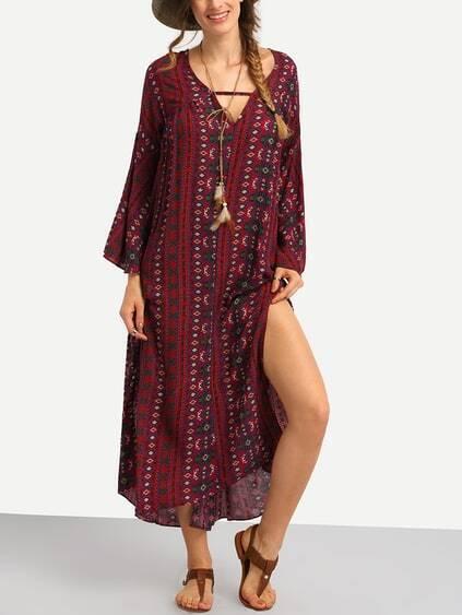 Romwe / Tribal Print Slit Long Dress