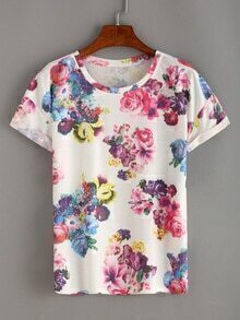 Colorful Flower Print White T-shirt
