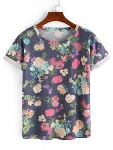 Colorful Flower Print Navy T-shirt