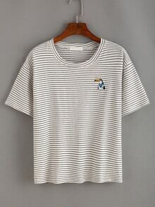Embroidered Penguin Striped T-shirt