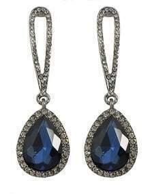 Blue Single Rhinestone Drop Earrings