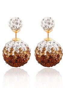Rhinestone Ball Double Sided Stud Earrings - Brown