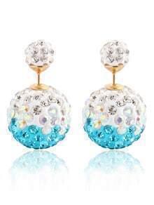 Rhinestone Ball Double Sided Stud Earrings - Sky Blue