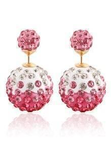 Rhinestone Ball Double Sided Stud Earrings - Pink