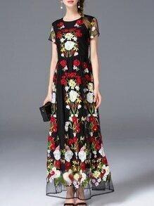 Black Gauze Embroidered Lace Maxi Dress
