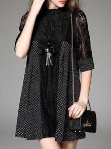 Black Necklace Polka Dot Contrast Lace Dress