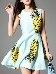 Mint Pineapple Print Pockets A-Line Dress