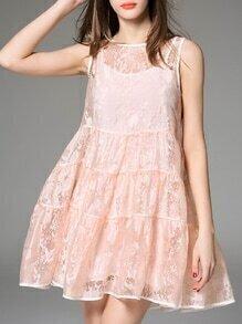 Pink Crew Neck Print A-Line Dress