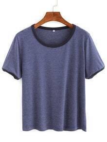 Contrast Trim Striped T-shirt