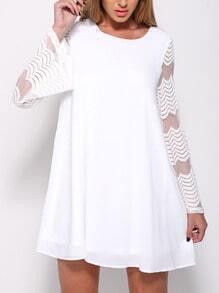 Chevron Striped Mesh Sleeve Swing Dress - White