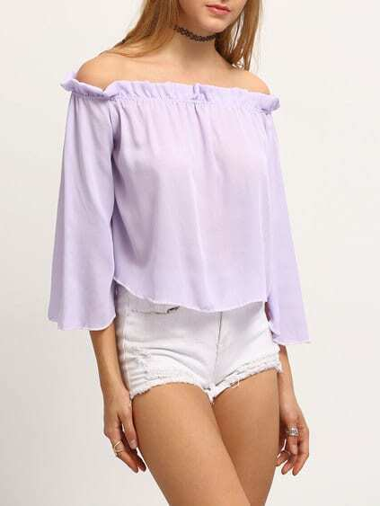 Ruffled Off-The-Shoulder Bell Sleeve Blouse