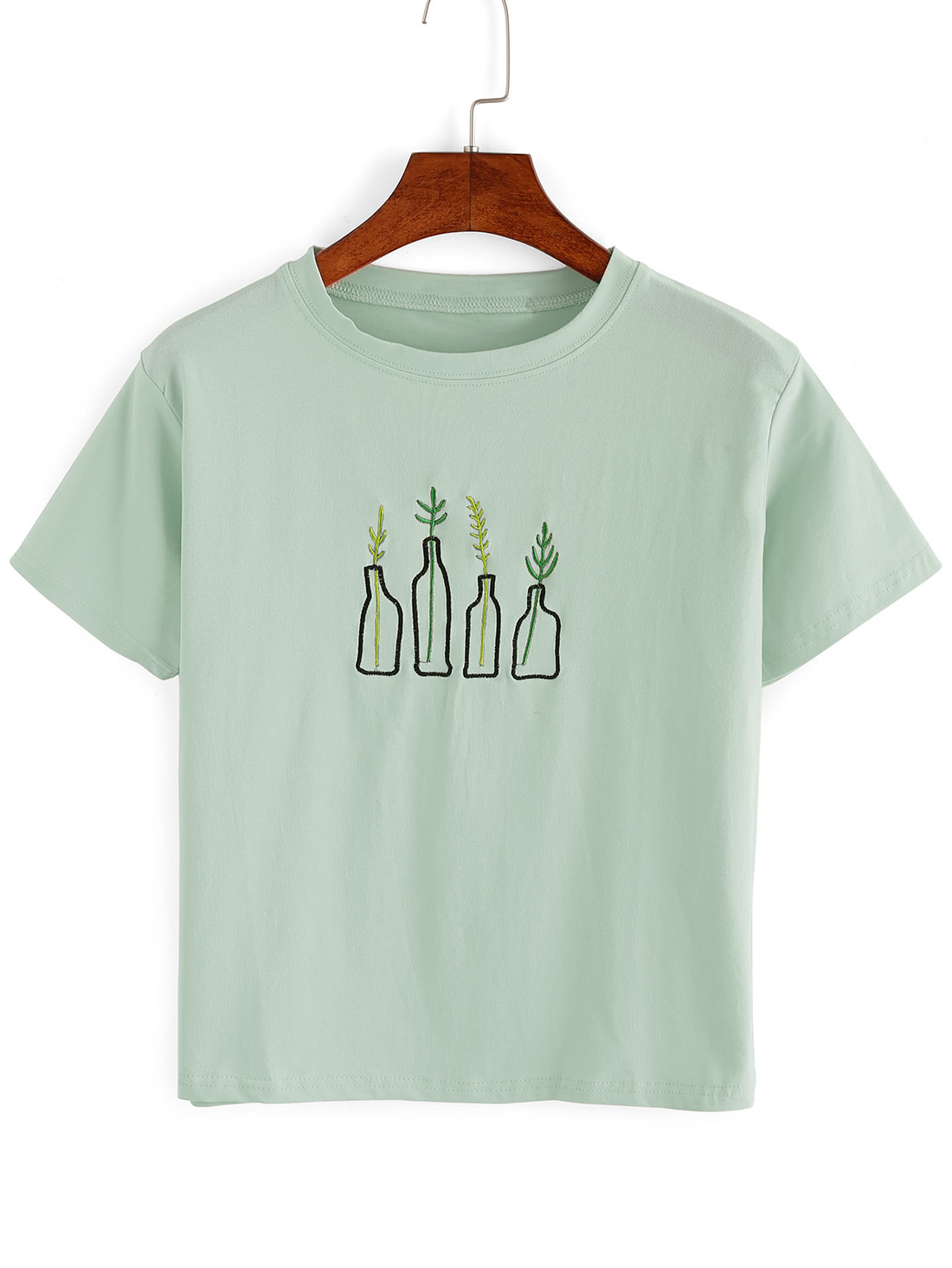 Green plant embroidered t shirt