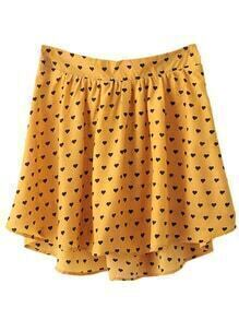 Yellow Elastic Waist Asymmetrical Hem Hearts Printed Skirt