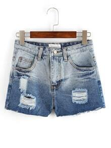 Ombre Ripped Denim Shorts