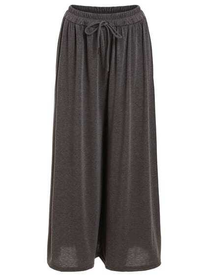 Drawstring Waist Wide Leg Jersey Pants