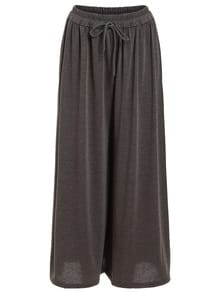 Drawstring Waist Wide Leg Jersey Pants