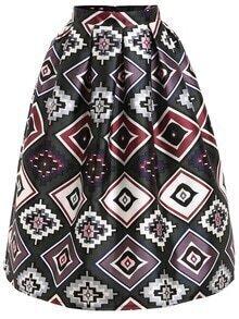 Geometric Print Box Pleat Midi Skirt