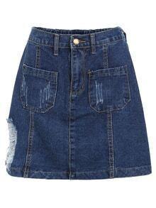 Frayed Dual Pocket Denim Skirt