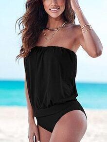 Blouson Bandeau One-Piece Swimwear - Black