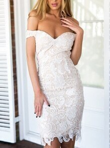 Off-The-Shoulder Lace Dress - White