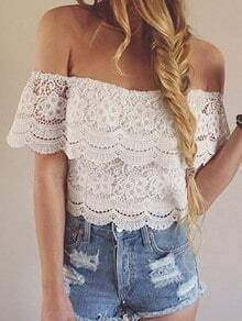 Ruffle Off-The-Shoulder Crop Lace Top